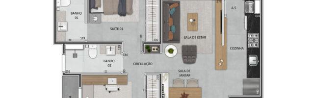 Planta: Apartamento 2 dormitórios