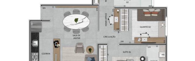 Planta: Apartamento 3 dormitórios